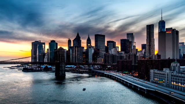 Sunset, dusk and night over the Lower Manhattan - part 2 video