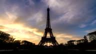 Sunset Eiffel timelapse video