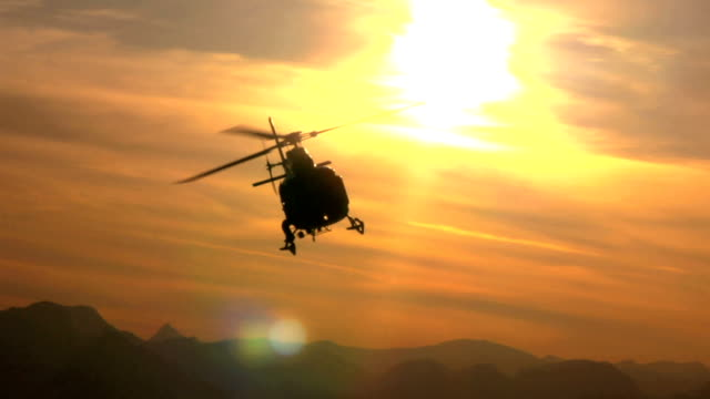 Sunset Helicopter Fly By video