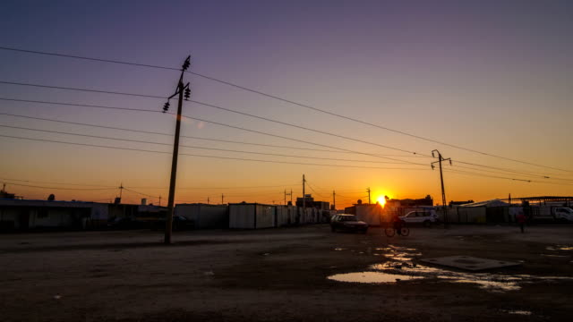 Sunset in a refugee camp in Kurdistan video
