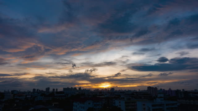 Sunset In Bangkok City : Day To Night Time-Lapse clouds sky scape. video