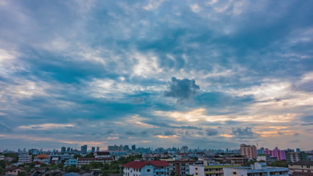 Sunset In Bangkok City : Day To Night Time-Lapse clouds skyscraper. video