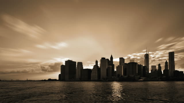 Sunset in skyscrapers in Manhattan, New York, USA video