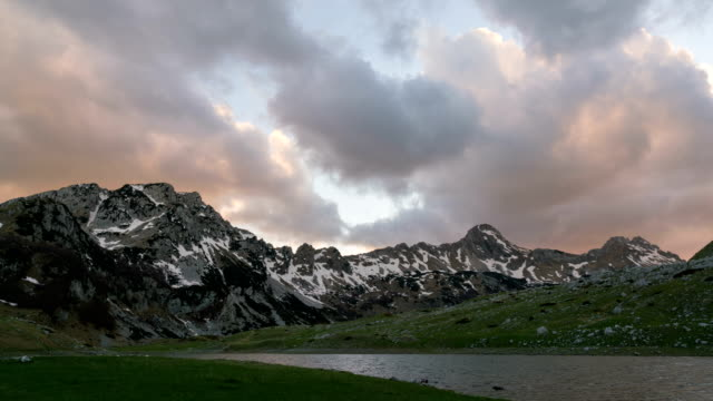 sunset in the picturesque mountains video