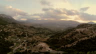 Sunset in the valley - Aerial View from UAV video