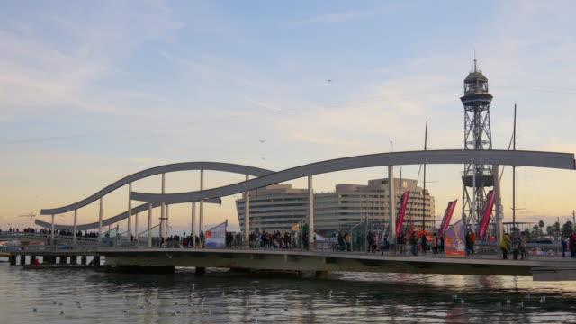 sunset light barcelona port vell bridge panorama 4k spain video