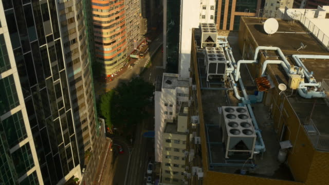 sunset light hong kong rooftop traffic street panorama 4k china video