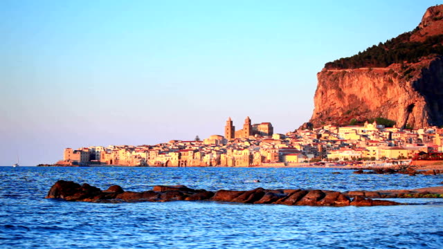 Sunset of Cefalu town video