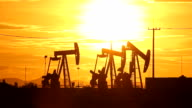 Sunset oil pump in the countryside video