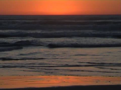 Sunset on a sandy beach video