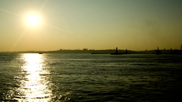 Sunset on Bosphorus in Istanbul time lapse video