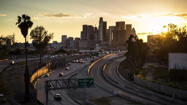 Sunset on LA Freeway - Time Lapse video