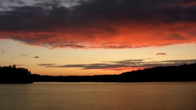 Sunset on lake. Timelapse. video