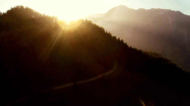 Sunset on Mountain - Aerial View video