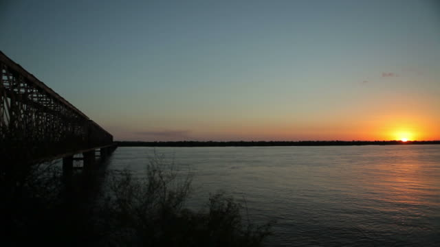Sunset on river video