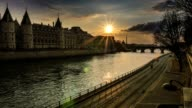 Sunset on Seine-Paris, France video