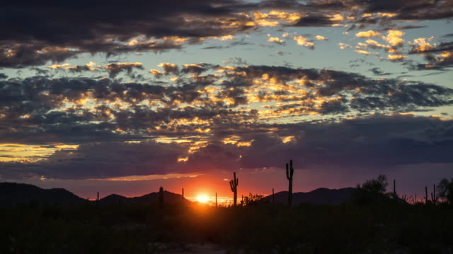 Sunset on Western American Desert - Time Lapse video