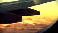 Sunset out of airplane window video
