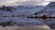 Sunset over a Lofoten lake in winter video