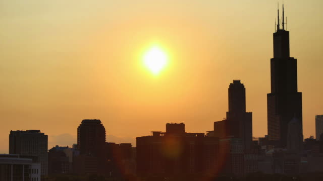 Sunset over Chicago, IL video