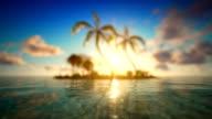 Sunset over defocused tropical ocean video
