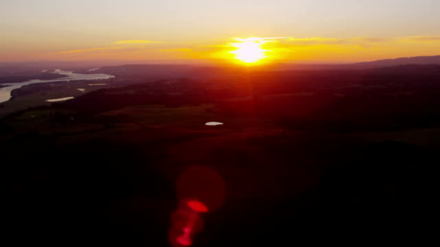 Sunset over farmlands, Washington state video
