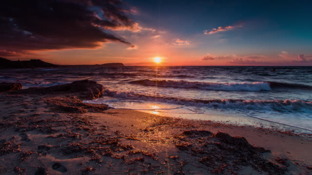 Sunset over Mediterranean Sea video