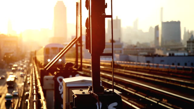 Sunset over New York skyline video