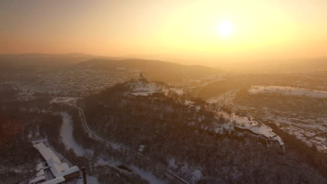 Sunset over old town of Veliko Tarnovo video