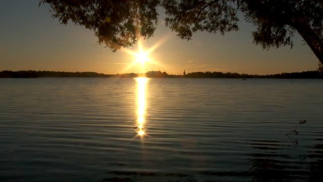 sunset over plön (germany) video