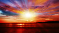 Sunset over sea video
