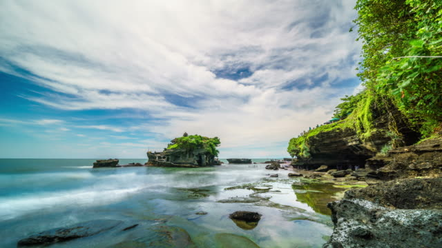 Sunset over Tanah Lot temple Bali Indonesia time lapse 4k video