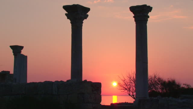 sunset over the ancient ruins video