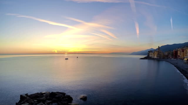 Sunset over the Little Seaside Town. Time Lapse video