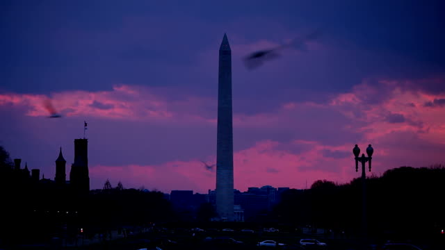Sunset over the National Mall with Washington Monument - TL video