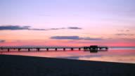 Sunset pier view from beach video