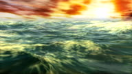 Sunset Sailing Open Ocean Whitecaps Tsunami Storm Waves video