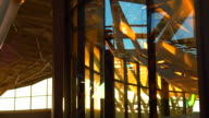 Sunset shine in glass architecture interior shot abstract futuristic of modern building video