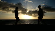 sunset silhouette of couple on the beach video