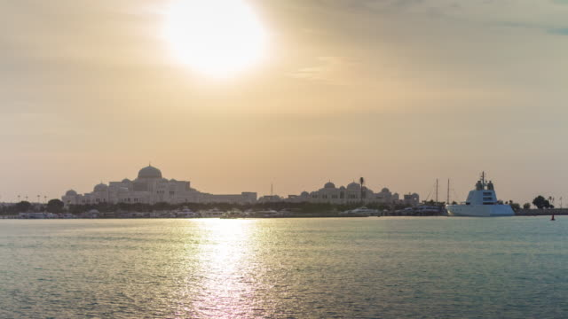 sunset sky abu dhabi presidential palace bay panorama 4k time lapse uae video