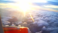 Sunset sky from airplane video