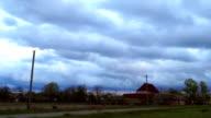 Sunset sky village cloud video