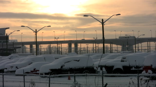 Sunset snow bridge. video