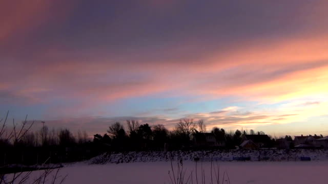 Sunset / Sunrise on the hill in winter. video