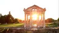 HD: Sunset Tetrapylon of Aphrodisias - Time Lapse video