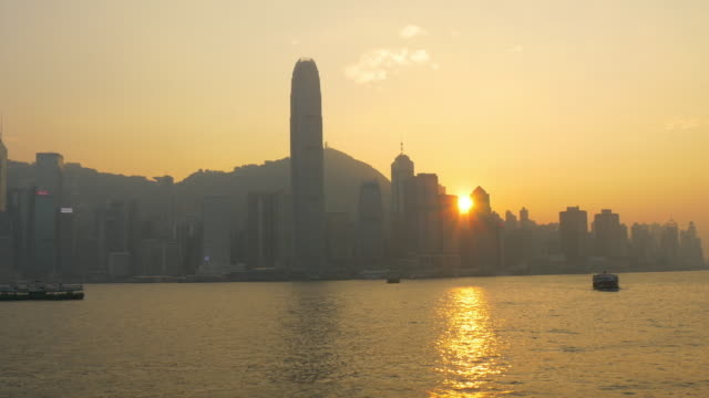 sunset time hong kong city bay from kowloon island panorama 4k china video