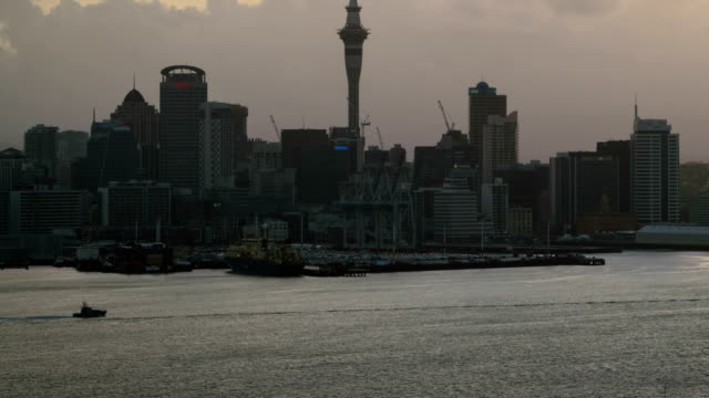 Sunset Time Lapse - Auckland Sky Tower and Harbour in Auckland video