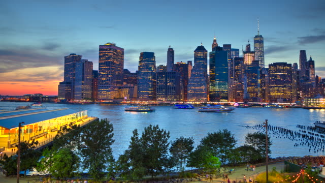 HDR sunset time lapse New York City downtown Manhattan video