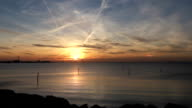 Sunset Time Lapse over Oresund bridge and water video