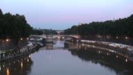 Sunset time on the Tiber river from a bridge, Rome video